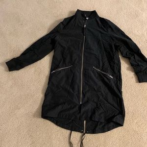 H&M long lightweight bomber jacket, black, size 10
